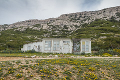 Le Cabanon. (Matthieu Robinet Photography) Tags: life sky white house color green home broken glass strange vintage dark landscape lost grey marseille pod solitude day alone photographer cloudy sweet sale path live empty picture pluie lifestyle dry dirty paca relief rainy damage lonely provence marge dust sec nuage maison casse couleur perdu chemin cabane nofilter seul photooftheday marginal photographe salet devasted poussiere nuageux perte