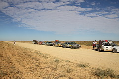 Marsscape Birdsville Track (BattysGambit) Tags: blue autumn red sky rock bush ruins track desert earth south horizon rally salt cancer australia qld queensland council outback stony sa plains fundraiser simpson gravel pans 2015 shitbox gibber birdsville sturts