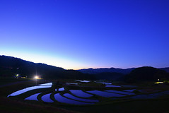 Rice field reflection (Yohsuke_NIKON_Japan) Tags: morning mountain nature sunrise star nikon dusk wide shimane agriculture nano ricefield tranquil paddyfield mountainrange terraced logexposure sanin d600 earlybird  1635mm unnan   terracedricefield