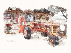 Farmall tractor (peppermcc) Tags: tractor watercolor dino digitalpainting outhouse lewisville farmall mobiline barnettmckee