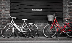 Rule breakers (Edward Swift) Tags: street cambridge blackandwhite unitedkingdom bicycles selectivecolour