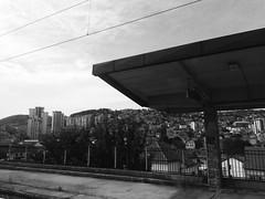Uice (annabochkareva) Tags: platform balkans hill south photography blackwhite bw white black grad city train voz station stanica serbia uzice srbija uice