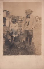 Feeding chickens - the chore most looked forward to (c.1910) (pellethepoet) Tags: boy canada chickens animals children feeding outdoor brother farm postcard hats siblings azo pails rppc realphotopostcard
