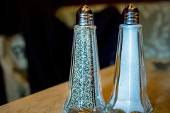 Pepper and salt shakers (Victor Wong (sfe-co2)) Tags: black bottle closeup condiment cooking flavor glass indoor ingredient kitchenware macro metal mineral nutrient nutrition pepper powder relish salt salty seasoning set shaker silver sodium spice spicy table two white