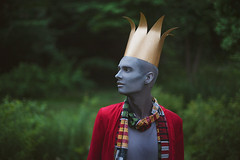 Gwendolyn & Greyson.  324/365 (aleah michele) Tags: gwendolyn greyson grey gray paint bodypaint facepaint king crown papercrown redcoat colorful childish childlike playful goofy odd strange cute adorable story storybook forest fairytale fantasy face magical magic man aleahmichele aleahmichelephotography adventure conceptual conceptualportrait concept calm color chill christian couple 365 365project emotion eyes explore happy