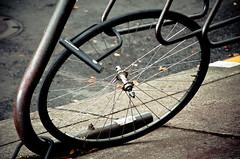 Tire Left Behind (Orbmiser) Tags: 55200vr d90 nikon oregon portland summmer bicycle rack sidewalk lock tire