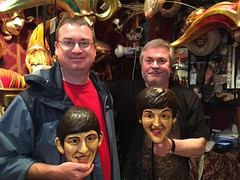 Me w/ Sergio Boldrin at La Bottega del Mascari (and the Beatles!) (Crumblin Down) Tags: venice vacation italy holiday reflection sergio sign shop del john ceramic paul star mirror la george europe italia harrison mask masks pottery beatles gondola lennon maker venezia ringo mccartney starr ferro trattoria maskmaker bottega forcola boldrin mascareri