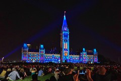 Bring a lawn chair to the Hill (beyondhue) Tags: canadian parliament ottawa ontario canada sound light show history journey beyondhue color projection peace tower night people spectators crowd lawn chair hill