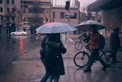 """""""A Foggy Day."""" (morsini1) Tags: chile santiago lluvia 35mmfilm e6 paraguas expiredfilm fujichromeprovia400 summicrondr50mmf2 leicam6classic085"""