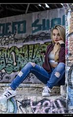 Carolina - 4/5 (Pogdorica) Tags: sexy tattoo graffiti chica retrato modelo rubia carolina denim sesion abandonado posado