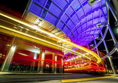 San Diego night train (V.Duplain) Tags: california light red urban orange station cali night train lights purple nightshot sandiego lighttrail