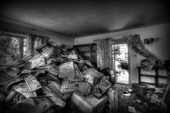 The Abandoned House (Crisp-13) Tags: hdr abandoned house decay urbex newspapers sun window black white monochrome hoarder lounge living room front