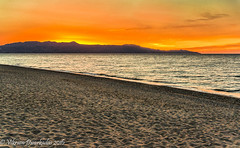 Sunset over the Rodopos Peninsula from the Platanias Beach (vdwarkadas) Tags: platanias beach plataniasbeach sunset hdrsunset hdr sand sandybeaches crete greece sonynex5t sony water aegeansea