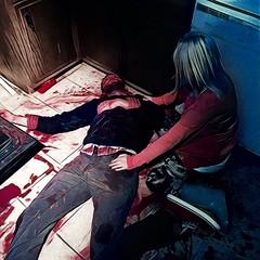 (kyle_brnicky) Tags: death deadbody horrorfilm horror rainboots kitchen blondewoman deadguy fakeblood bloody blood corpse