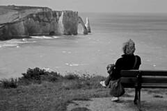 Etretat (Cristina Palmarini) Tags: ctedalbtre silence solitude normandy normandie sea sensational blackandwhite wind france plage falaises panorama view