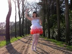 Bye-bye (Paula Satijn) Tags: road trees red white hot sexy stockings girl smile sunshine fun outside dress legs girly feminine joy skirt tgirl heels gown miniskirt gurl stockingtops