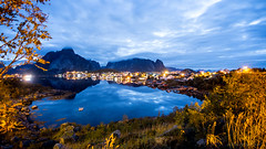 Looks like morning in your eyes (OR_U) Tags: longexposure nightphotography morning sea mountains reflection norway night clouds nightlights village widescreen le fjord oru 169 lofoten reine norahjones beforesunrise 2016