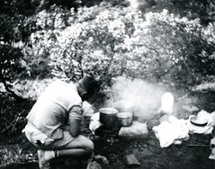 Cooking over an open fire (PUC Special Collections) Tags: california coastal mendocino 1960s norcal 1970s biology tidepools puc albion estuaries mendocinocounty pacificunioncollege albionfieldstation albionbiologicalfieldstation pucbiologydepartment