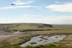 Helicopter over Cuckmere Haven   Seven Sisters walk   July 2016-39 (Paul Dykes) Tags: southdowns southdownsway southcoast coast cliffs sea shore coastal englishchannel sussex england uk seaside sun sunnyday chalk downs hills countryside