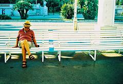 Nice sleeper (Stephen Dowling) Tags: travel summer france film 35mm nice xpro crossprocessed olympustrip35 kodakelitechrome100
