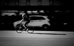 Faster Than His Shadow (Sven Hein) Tags: street summer people blackandwhite bw man bike bicycle canon eos leute cyclist candid sommer strasse streetphotography streetlife menschen mann schwarzweiss panning fahrrad radfahrer strassenfotografie 5d3 5dmarkiii fasterthanhisshadow