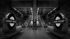 Imperial Path... (JH Images.co.uk) Tags: canarywharf london londonunderground station bw blackandwhite underground escalator metro