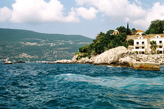 Herceg Novi (alekspaunic) Tags: ocean blue mountains nature architecture canon boats bay bluesky canona1 analogphotography montenegro adriaticsea photooftheday naturelovers filmphotography shadesofblue bokakotorska hercegnovi archilovers