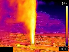 Thermal image of Beehive Geyser eruption (5:04-5:09 PM, 3 June 2016) 1 (James St. John) Tags: beehive geyser hill group upper basin yellowstone hotspot volcano wyoming eruption erupt erupts erupting eruptions thermal image photo picture temperature