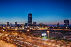 seef in blue hour (azahar photography) Tags: seef manama sunset bahrain freeway hiughway lighttrail cityscape bluehour