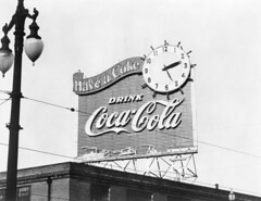 Vintage neon sign construction (jericl cat) Tags: vintage neon sign photo historic old advertising ad roadside signage photography pause refresh drink cocacola coke cola billboard clock streetlight rooftop scaffold neworleans louisiana industrial electric haveacoke day ship steamboat river