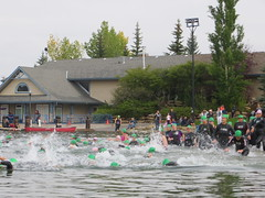 2016Aug7-ChaparralTri 180 (Dawn - Pink Chick) Tags: pinkchick 2016 aug72016 lakechaparraltriathlon olympic sprint triit run runners running swim swimming cycling bike triathlon chaparral lakechaparral calgary