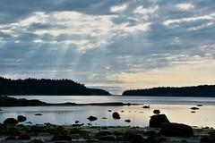 Beams of morning (Adam Wang) Tags: landscape nature beach sunshine cloud sea silhouette mudgeisland