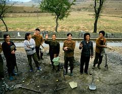 Female railwayworker (Frhtau) Tags: dprk north korea korean people leute asia asian east nordkorea passers gauge line station bahnhof gare railway worker stuff brigade woman female scenery   choxin  outdoor      corea del norte core du nord coreia do coria    culture stadt
