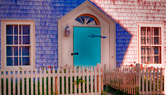 The Turquoise Door (Sonia'sGallery) Tags: door flickrsoniaargenio flickrsoniagallery novascotia theturquoisedoor canada dalylight fence flowers glass light lightfixture picketfence shadow shingles sun turquoise windows