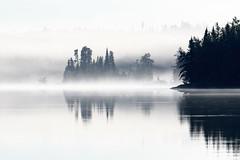 Misty Island (jrlarson67) Tags: mannifrank lake reflection fog mist trees water canada manitoba nikon d500