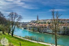Bern City (sylvester-ch) Tags: city blue green water wasser flickr himmel stadt bern grn blau aussicht bume aare weg rasen huser berncity