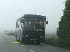 Out of the gloom (Coco the Jerzee Busman) Tags: uk blue bus islands coach camo renault cannon jersey swift dennis tours dart channel leyland lcb plaxton tantivy