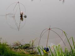 Fischer im Mekong bei Vientianne