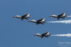 Thunderbirds four ship in a trailing formation