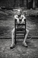 Industry chair (Jochem.Herremans) Tags: ladies girls urban building abandoned industry beautiful youth danger fun blackwhite chair european young posing boom teen lovely tough sexypose growingup thug steenbakkerij