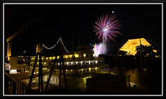 Fireworks_4918 (bjarne.winkler) Tags: from ca bridge cats moon game building tower home river with notice fireworks side delta queen east sacramento behind lunar ziggurat the