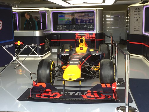 The Red Bull garage during Formula One In Season Testing at Silverstone, July 2016