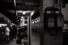 Morning anonymity (MathayJL - Offline for 2 days) Tags: morning station blur lights people hazebrouck nordpasdecalais france matin night nuit gare quai platform personnes lumires flandre flanders noiretblanc bw bnw blackandwhite city ville street rue ferroviaire railway flou transports transportation railroad focus canon eos 35mm anonymat anonymity track dof digital ef35mmf2 blackwhitephotos