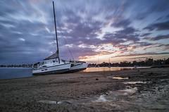 Dual Trek, low tide (Ancon0031) Tags: reflection clouds sailboat puddle boat lowtide suunrise minyama mooloolahriver dualtrek saunshinecoast