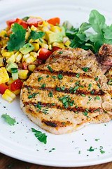 Spiced Grilled Pork (alaridesign) Tags: spiced grilled pork chops with charred corn salad