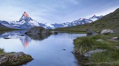 Stellisee and Matterhorn in the Morning Light (vladimir.vozdvizhenskiy) Tags: switzerland suisse lake stellisee reflection mountain valais zermatt alps sundawn morning outdoor matterhorn cervin canon travel