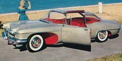 """SE Pontiac Detroit MI c.1950 THE PONTIAC STRATO CHIEF  Concept Car only 53 inches in height WITH ALL-AROUND VISION 250HP STRATO CHIEF V8 hinged roof & door for EASY ENTRY & EXIT became the Catalina3 (UpNorth Memories - Donald (Don) Harrison) Tags: """" """"railroad ferry"""" """"car excursion vintage antique postcard rppc """"don harrison"""" """"upnorth memories"""" upnorth memories upnorthmemories michigan history heritage travel tourism """"michigan roadside restaurants cafes motels hotels """"tourist stops"""" """"travel trailer parks"""" campgrounds cottages cabins """"roadside entertainment"""" """"natural wonders"""" attractions usa puremichigan"""