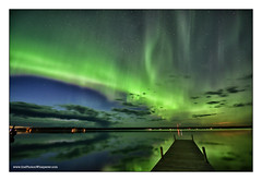 the aurora came out to play (Dave (www.thePhotonWhisperer.com)) Tags: aurora saskatchewan sky night lake dock northernlights