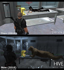 Hive: Then and Now No.1 (Andy2 Spore) Tags: residentevil secondlife thehive sim combat roleplay biohazard zombie lab laboratory prim bear umbrella throwback movie 2002 outbreak viral videogame