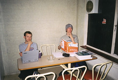 Studying (Gary Kinsman) Tags: hampsteadstudentcampus hampstead childshill nw3 kidderporeavenue london 2001 film kingscollegelondon kcl hallsofresidence studentcampus students university fun youth young kitchen ellison posed studying study textbooks laptop